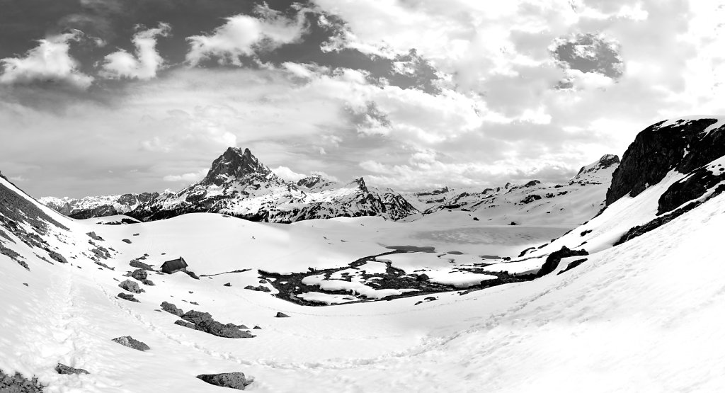 Lake Roumassot & The peak of Midi d'Ossau II B&W - Pyrenees, France