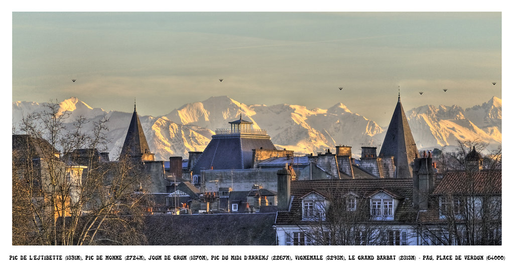 The peak of l'Estibette - Soum de Grum - Peak of midi d'Arrens - Vignemale - Le grand Barbat - Place of verdun, Pau (64000) France